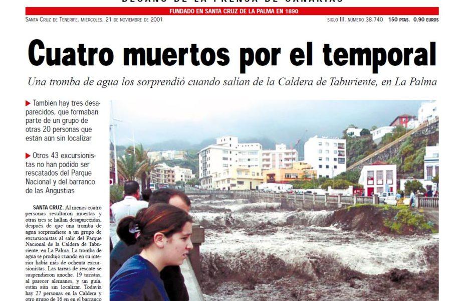 20 de noviembre del 2001. Riada y tragedia en Las Angustias (La Palma)